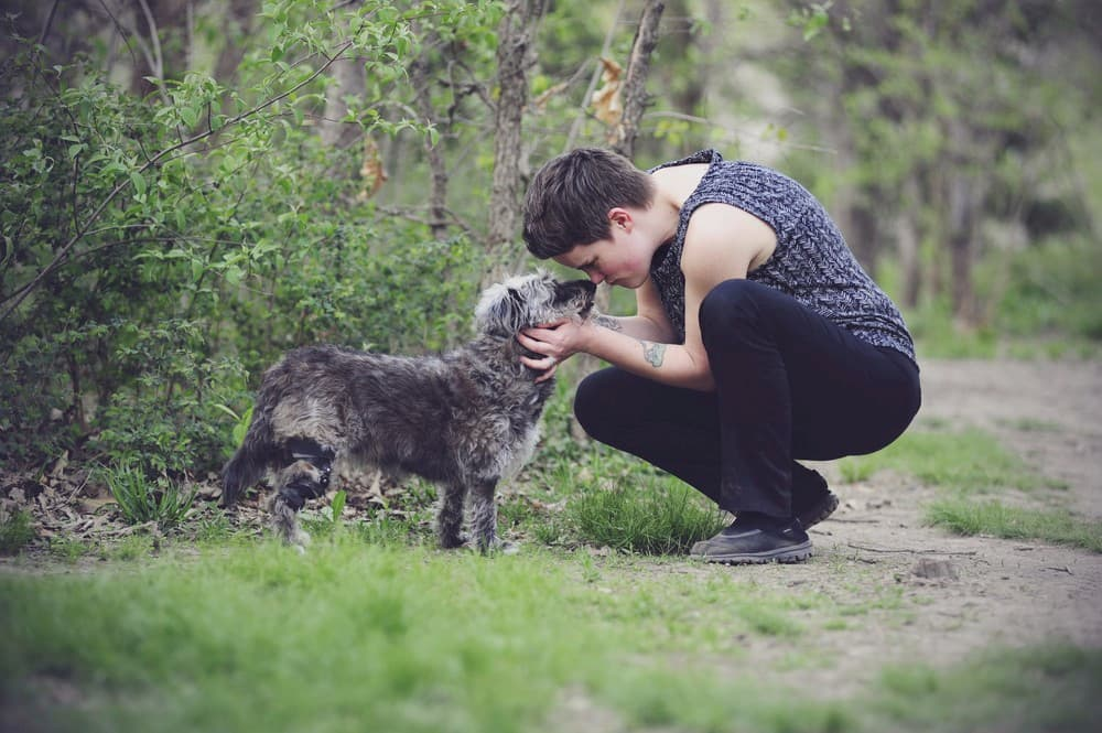 Owner kissing a dog limping with knee brace on walking trail